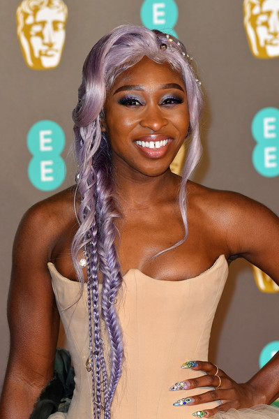 Cynthia Erivo Loose Braid [hair,beauty,hairstyle,muscle,black hair,human,long hair,fashion accessory,lace wig,eyelash,red carpet arrivals,cynthia erivo,ee,london,england,royal albert hall,british academy film awards]