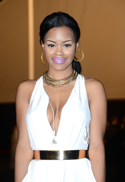 Teyana Taylor paired shiny mauve lipcolor with her crisp white gown while attending the Cannes Film Festival.