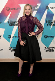 Abbie Cornish kept it ladylike in a purple lace pussybow blouse by Tadashi Shoji while visiting DIRECTV House.