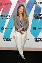 Riley Keough was all business in a cropped glen plaid jacket while visiting DIRECTV House.