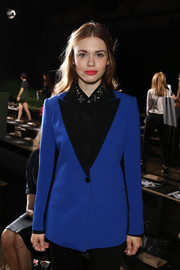 Holland Roden was all covered up in a bright blue blazer with black lapels when she attended the DKNY fashion show.