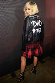 Rita Ora made a sassy statement with this black leather jacket when she attended the DKNY fashion show.