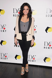Vanessa stuck to a mature look at the 'DVF Loves Roxy' launch in NYC when she wore a cream and black blazer.