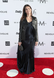 Julia Restoin-Roitfeld injected some edge with a black leather jacket.