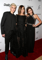 Carine Roitfeld was goth queen in a black gown with a sheer skirt and sleeves at the Fashion Los Angeles Awards.