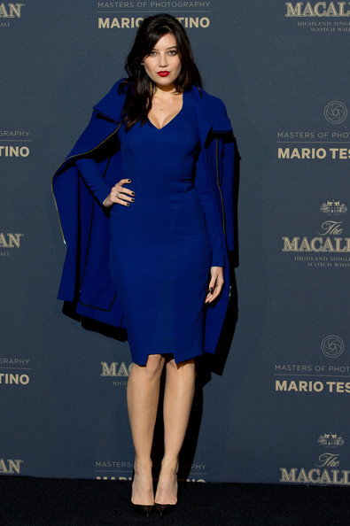Daisy Lowe Form-Fitting Dress [macallan masters of photography event,the macallan masters of photography,mario testino edition,cobalt blue,clothing,fashion model,dress,blue,electric blue,cocktail dress,fashion,shoulder,formal wear,daisy lowe,england,london,launch party,the ritz]