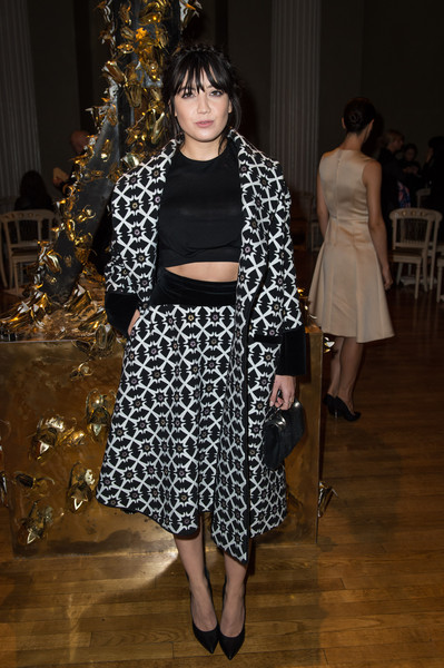 Daisy Lowe Full Skirt [show,fashion,clothing,fashion model,shoulder,event,design,joint,haute couture,fashion show,dress,arrivals,giles,daisy lowe,front row,london,england,london fashion week]