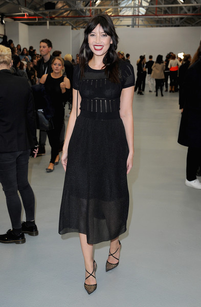 Daisy Lowe Pumps [aw16,fashion model,clothing,fashion,dress,little black dress,fashion show,shoulder,runway,haute couture,event,celebrities,daisy lowe,xiao li,front row,runway,brewer street car park,london,london fashion week autumn,show]