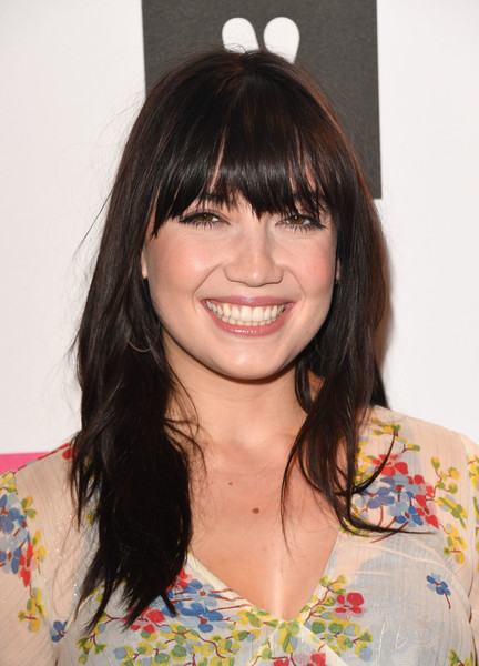 Daisy Lowe Long Straight Cut with Bangs [hair,hairstyle,bangs,brown hair,chin,long hair,black hair,lip,shoulder,layered hair,arrivals,daisy lowe,london,england,v by very london fashion week,party,party]