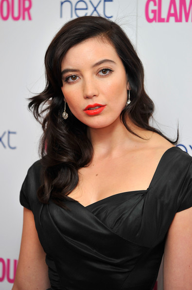 Daisy Lowe Red Lipstick [arrivals,daisy lowe,hair,face,shoulder,lip,hairstyle,skin,chin,beauty,eyebrow,dress,glamour women of the year awards,england,london,berkeley square gardens]