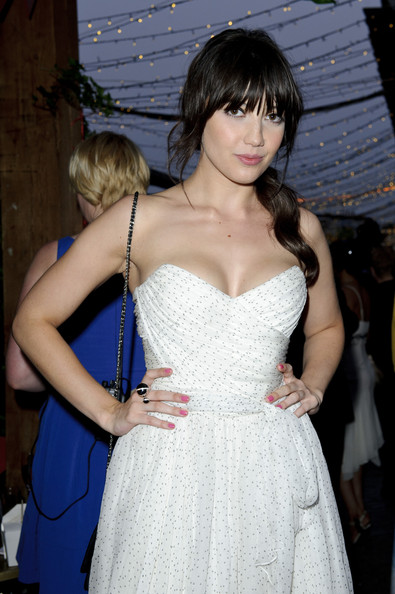Daisy Lowe Pink Nail Polish [clothing,dress,fashion,hairstyle,haute couture,long hair,gown,event,brown hair,bangs,daisy lowe,aid,tunnel of love,england,london,proud camden,british heart foundation]