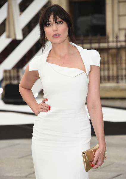Daisy Lowe Red Nail Polish [white,shoulder,clothing,dress,lady,beauty,fashion,fashion model,joint,hairstyle,daisy lowe,preview,royal academy of arts summer exhibition 2016,vip preview,england,london,royal academy of arts]