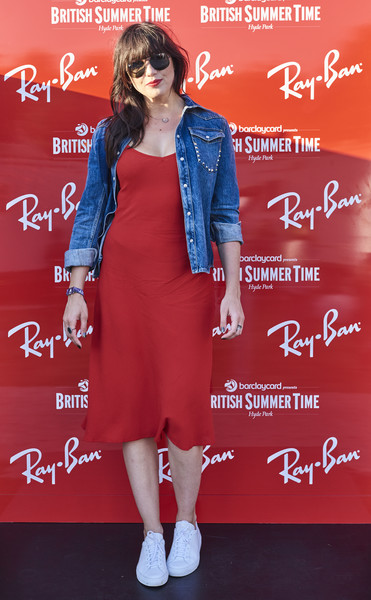 Daisy Lowe Denim Jacket [clothing,electric blue,fashion design,style,ray-ban,handout image,ray-ban rooms at barclaycard presents british summer time hyde park,barclaycard presents british summer time hyde park,england,london,daisy lowe]