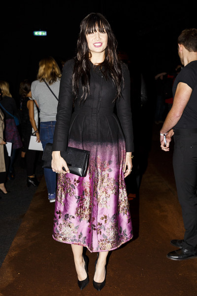 Daisy Lowe Printed Coat [clothing,fashion,purple,dress,event,outerwear,footwear,leg,fashion design,fashion show,arrivals,erdem,daisy lowe,front row,london,england,show,london fashion week]