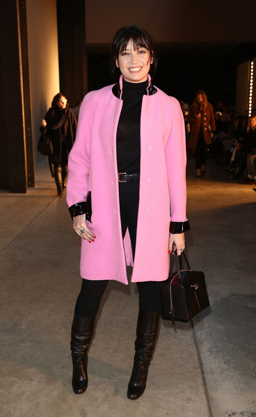 Daisy Lowe Wool Coat [show,clothing,fashion,fashion show,pink,fashion model,outerwear,coat,street fashion,overcoat,footwear,daisy lowe,christopher kane,front row,fw15,london,england,tate modern,lfw]