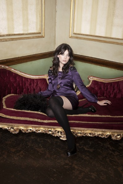 Daisy Lowe Tights [tights,leg,sitting,purple,thigh,fashion,human body,stocking,long hair,dress,accessories,daisy lowe,handout image,collection,womenswear,autumn winter,face,biba,fashion brand biba relaunches for autumn]