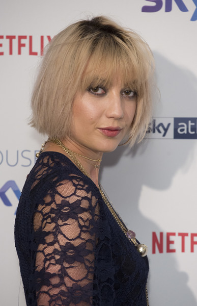 Daisy Lowe Bob [house of sky q,hair,hairstyle,face,blond,bangs,chin,hair coloring,layered hair,shoulder,lip,daisy lowe,photocall,england,london,the vinyl factory,house of sky q launch]