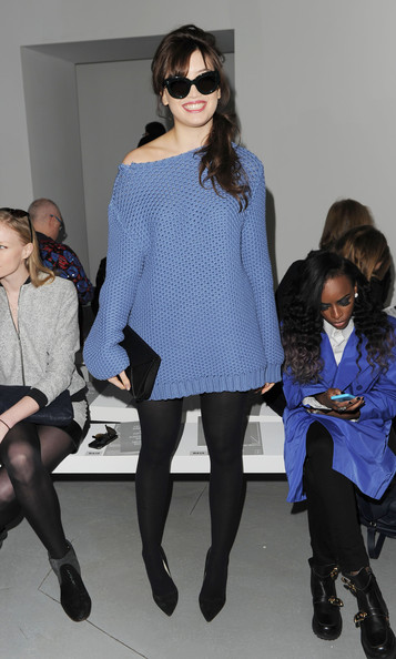 Daisy Lowe Boatneck Sweater [aw14,tights,fashion,eyewear,clothing,leg,fashion show,thigh,knee,fashion design,footwear,richard nicoll,daisy lowe,front row,london,england,london fashion week]