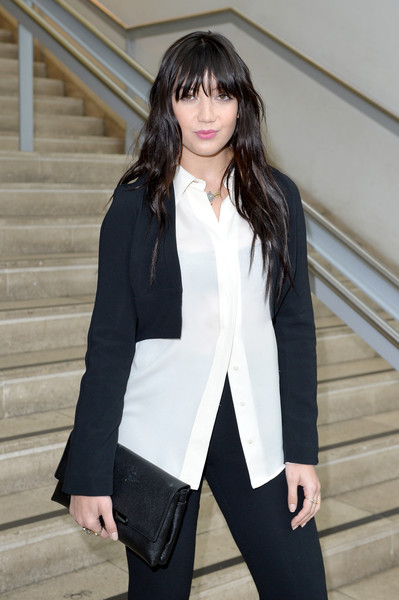 Daisy Lowe Button Down Shirt [show,clothing,white,black,outerwear,hairstyle,fashion,snapshot,street fashion,jacket,sleeve,arrivals,antonio berardi,daisy lowe,front row,london,england,london fashion week]
