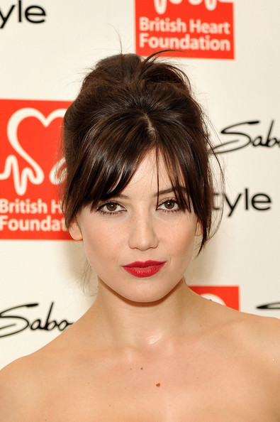 Daisy Lowe Retro Updo [hair,face,hairstyle,lip,chin,skin,shoulder,eyebrow,beauty,bangs,red carpet arrivals,daisy lowe,tunnel of love,aid,tunnel of love,england,london,british heart foundation,fundraiser,fundraiser]