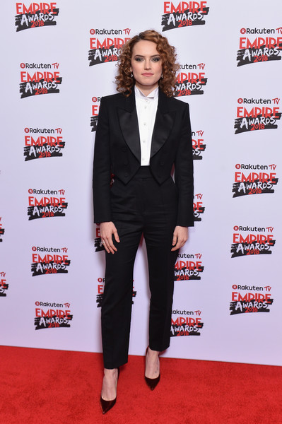 Daisy Ridley Evening Pumps [suit,clothing,red carpet,carpet,formal wear,pantsuit,premiere,tuxedo,outerwear,footwear,daisy ridley,tv empire awards,london,england,the roundhouse,rakuten,red carpet arrivals]