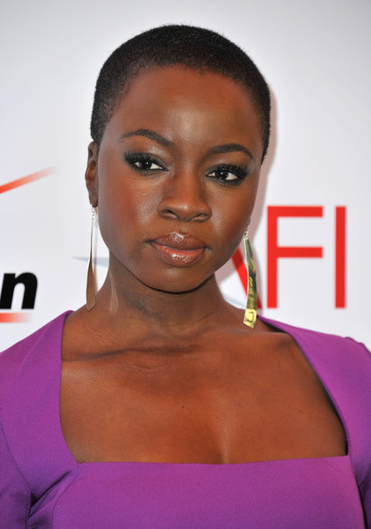 Danai Gurira Buzzcut [hair,face,hairstyle,eyebrow,lip,beauty,shoulder,chin,forehead,cheek,arrivals,danai gurira,beverly hills,los angeles,california,afi awards,four seasons]