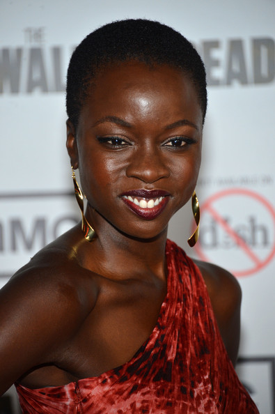 Danai Gurira Buzzcut [the walking dead,season,hair,hairstyle,eyebrow,beauty,lip,black hair,smile,muscle,long hair,croydon facelift,danai gurira,arrivals,universal city,california,universal citywalk,amc,premiere,premiere]