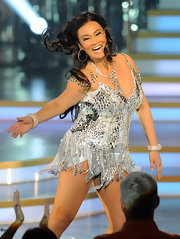Tia Carrere performed at the 'Dancing with the Stars: Live in Las Vegas' wearing a heavily beaded silver mini dress.