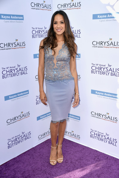 Dania Ramirez Cocktail Dress [clothing,dress,cocktail dress,shoulder,fashion,hairstyle,footwear,carpet,long hair,red carpet,arrivals,dania ramirez,private residence,brentwood,california,chrysalis butterfly ball]