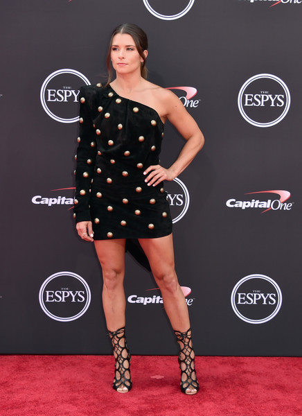 Danica Patrick Lace-Up Heels [clothing,red carpet,carpet,dress,shoulder,footwear,fashion,joint,little black dress,flooring,arrivals,danica patrick,microsoft theater,los angeles,california,espys]