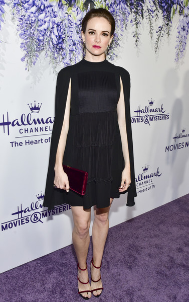 Danielle Panabaker Little Black Dress [red carpet,dress,clothing,cocktail dress,fashion model,little black dress,fashion,shoulder,footwear,shoe,carpet,danielle panabaker,summer tca,residence,beverly hills,california,hallmark channel]