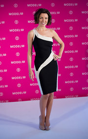 Dannii donned a one-shoulder black and white bandage dress for the launch of her falsie mascara.