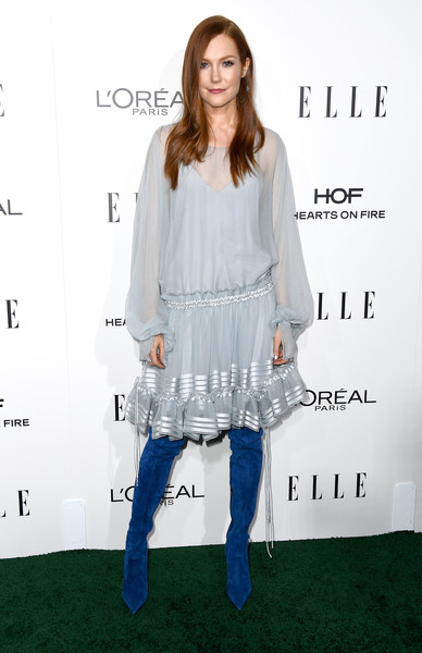Darby Stanchfield Day Dress [white,shoulder,flooring,joint,fashion model,fashion,outerwear,fashion design,carpet,top,darby stanchfield,arrivals,los angeles,four seasons hotel,california,beverly hills,elle women in hollywood awards,annual elle women in hollywood awards]