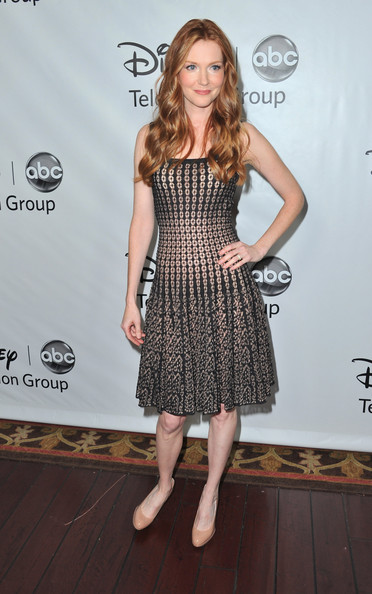Darby Stanchfield Pumps [clothing,dress,cocktail dress,shoulder,fashion,hairstyle,carpet,premiere,fashion model,footwear,darby stanchfield,pasadena,california,disney,abc television group,tca winter press tour]