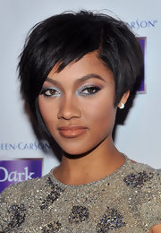Bria Murphy showcased her almond-shaped eyes with shimmering silver metallic shadow.