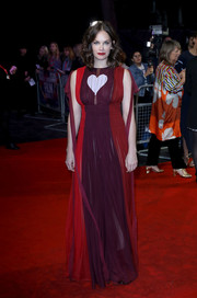 Ruth Wilson looked adorably chic in a Schiaparelli Couture color-block empire gown with heart detail at the BFI London Film Festival premiere of 'Dark River.'