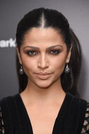 Camila Alves styled her hair into a center-parted, high-volume ponytail for the New York premiere of 'The Dark Tower.'