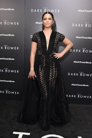 Camila Alves looked downright regal in this black mesh gown by Georges Chakra Couture that she paired with black heels by  Schutz at the New York premiere of 'The Dark Tower.'