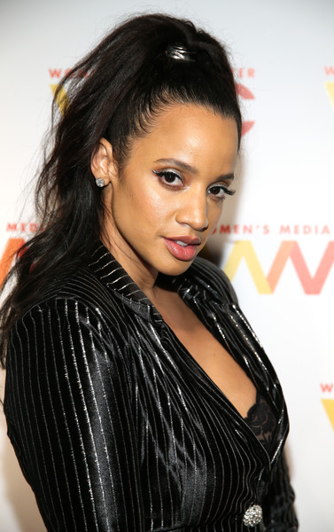 Dascha Polanco Ponytail [hair,hairstyle,black hair,eyebrow,lip,beauty,forehead,long hair,lady,layered hair,arrivals,dascha polanco,womens media awards,capitale,new york city]