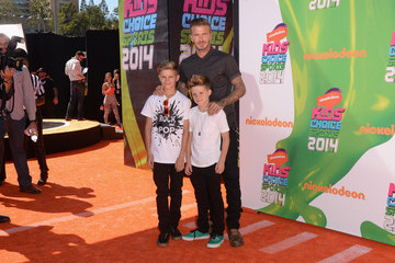 David Beckham Cruz Beckham Arrivals at the Nickelodeon Kids' Choice Sports Awards