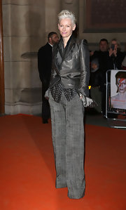Tilda Swinton chose this silver blazer for her red carpet look.