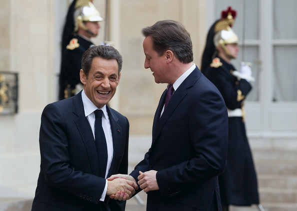UK PM David Cameron Attends Meetings With President Sarkozy