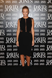 Lara looks sultry in a lacy cut out little black dress at the David Jones Season Launch.