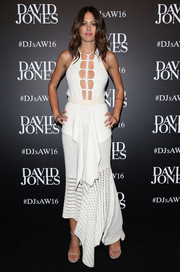Jesinta Campbell went for ultra-girly flair in a white crochet cutout dress by KitX at the David Jones fashion launch.