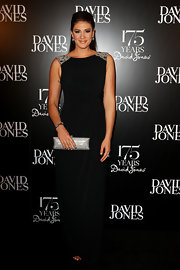 Swimmer Stephanie Rice attended the David Jones 175 year celebration in a stylish black column gown featuring a touch of sparkle on the shoulders.