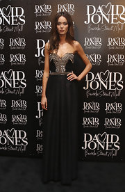 Nicole showed off her strapless dress while hitting the David Jones store opening.