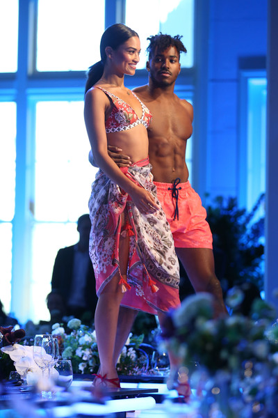Shanina Shaik rehearsed for the David Jones collections launch wearing a floral coverup and a matching bikini.