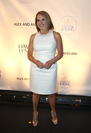Katie Couric looked classy in a little white dress with a beaded neckline at the National Night of Laughter and Song event.