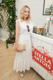 Joanne Froggatt looked breezy in a sleeveless white maxi dress at the Championships, Wimbledon event.