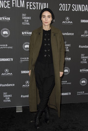 Rooney Mara teamed an army-green coat with a lace-up top and harem pants for the Sundance premiere of 'A Ghost Story.'